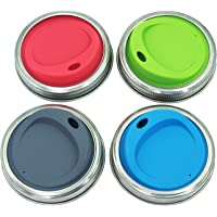 THINKCHANCES Reusable Food Grade BPA Free Silicone Sip Coffee Juice Drinking Lid Kit with Stainless Steel Rings for Mason, Ball, Canning Jars, Pack of 4 Sets (Regular Mouth,Oval Drinking Hole)