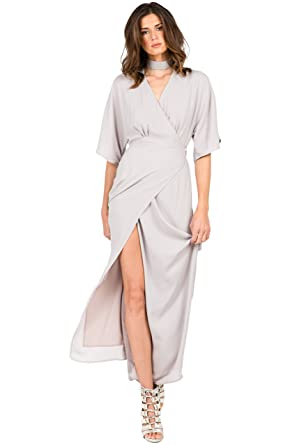 578b074ac6a Standards   Practices Modern Women s V-Neck Kimono Light Grey Wrap Maxi  Dress Size S