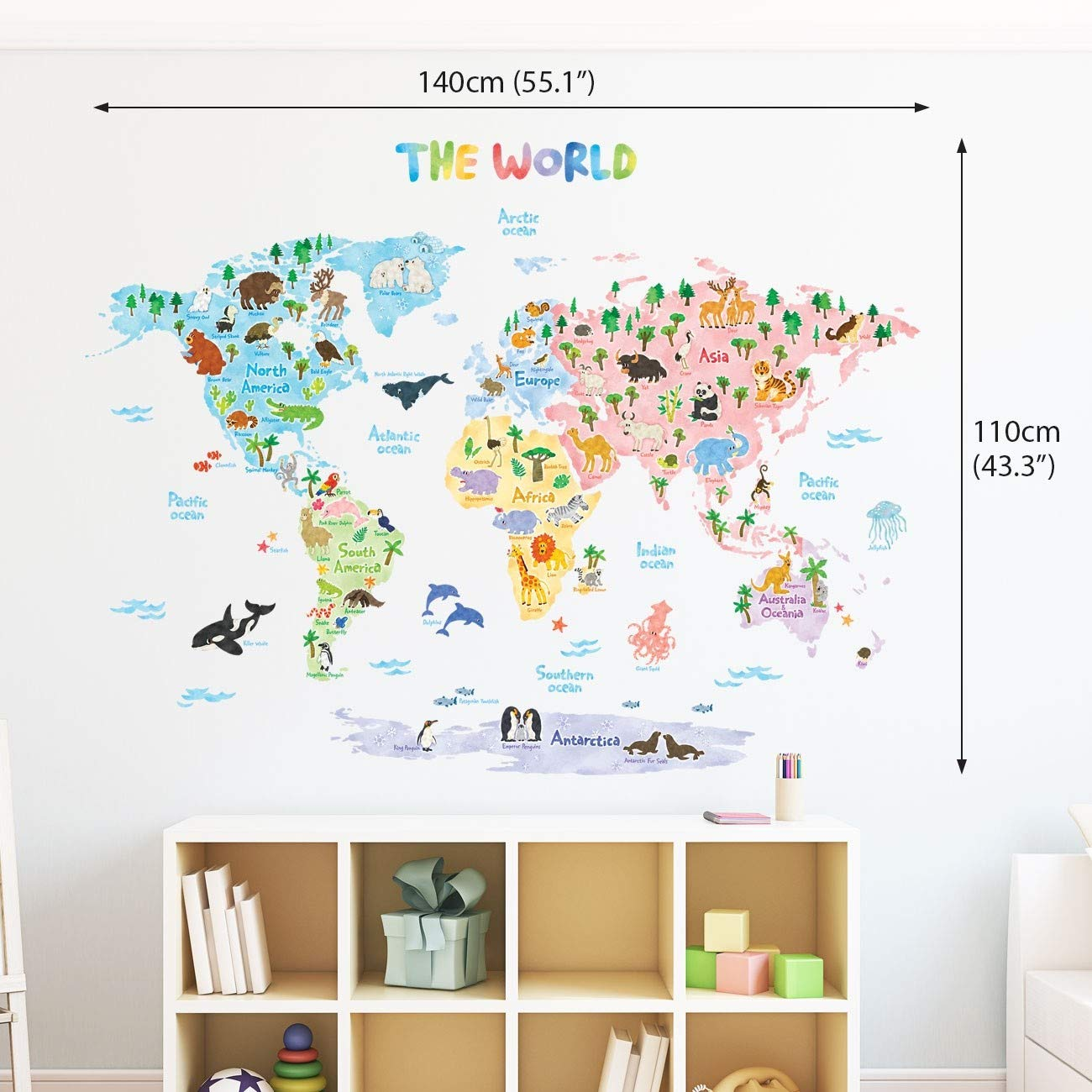 Decowall DLT-1615 Animal World Map Kids Wall Decals Wall Stickers Peel and Stick Removable Wall Stickers for Kids Nursery Bedroom Living Room (XLarge) by Decowall (Image #3)