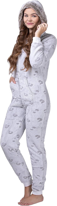 con pu/ños en Las Mangas y Bajos Fruncidos Mono Pijama de Mujer de Tejido Polar Extremadamente Suave y Mullido y con Pelo sint/ético maluuna