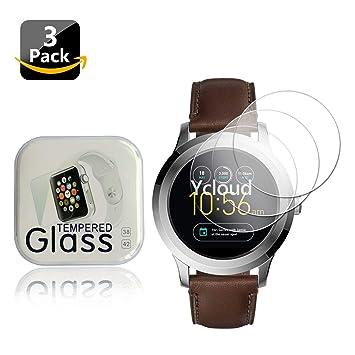 Ycloud [3-Unidades Protector de Pantalla de Vidrio Templado para Fossil Q Founder 2.0 Watch Smartwatch Alta Definicion 9H Dureza Anti-Explosion