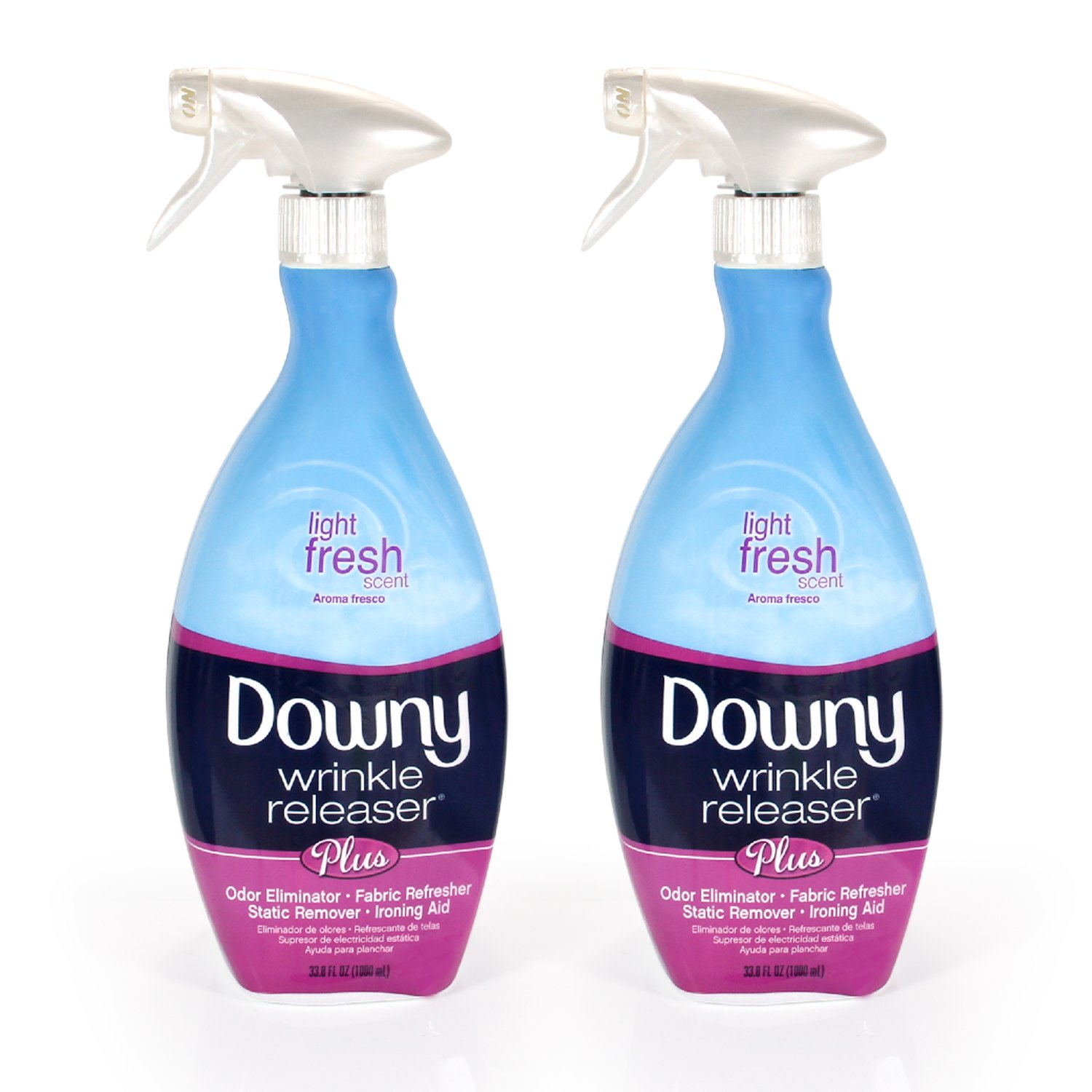 Downy Wrinkle Release Spray Plus, Static Remover, Odor Eliminator, Steamer for Clothes Accessory, Fabric Refresher and Ironing Aid, Light Fresh Scent, 33.8 Fluid Ounce (Pack of 2) by Downy