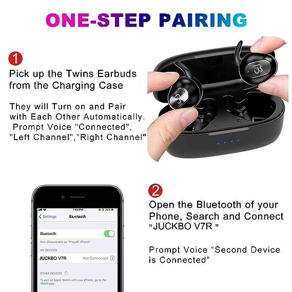 5c3db0c21fb Amazon.com: Bluetooth Earbuds,5.0 True Wireless Headphones Deep Bass HiFi  Stereo Sound Bluetooth Earphones 16H Playtime Mini in Ear Headset with  Charging ...