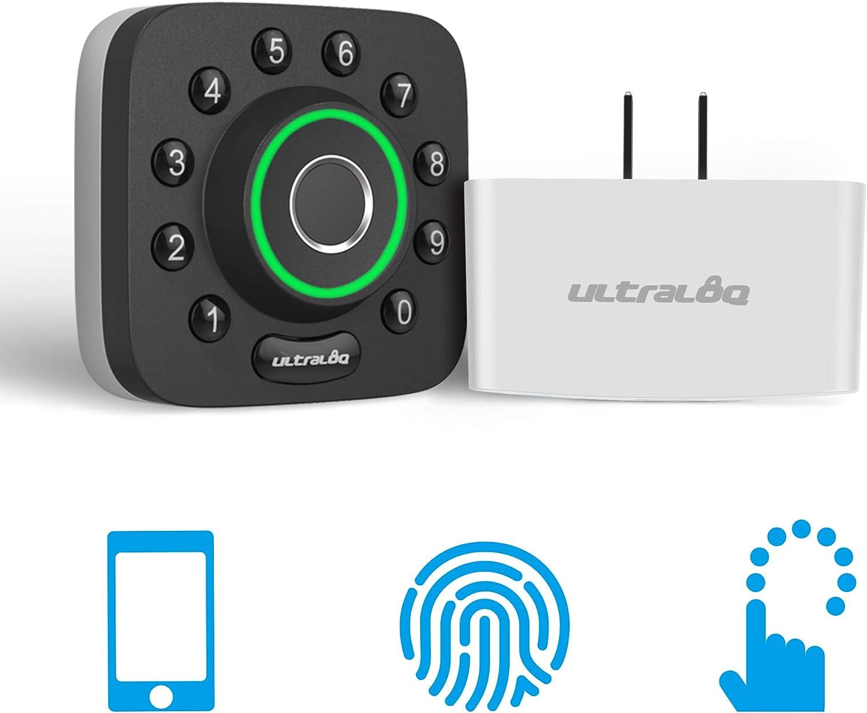 U-Bolt Pro Bluetooth Enabled Fingerprint and Keypad Smart Deadbolt + Bridge WiFi Adaptor | 6-in-1 Keyless Entry | Control Remotely Via Smartphone | Fingerprint ID | Anti-peep Code | Auto Unlock & Lock
