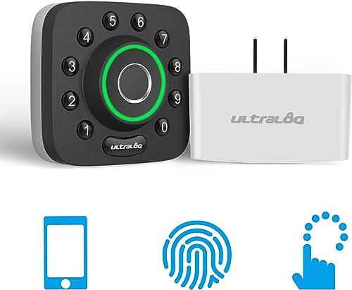 U-Bolt Pro Bluetooth Enabled Fingerprint and Keypad Smart Deadbolt Bridge WiFi Adaptor 6-in-1 Keyless Entry Control Remotely Via Smartphone Fingerprint ID Anti-peep Code Auto Unlock Lock
