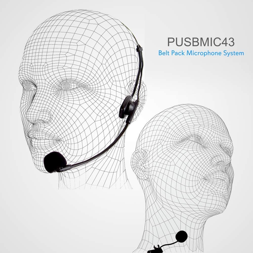 Pyle PUSBMIC43 Belt Pack Microphone System w//Wireless Receiver Headset Mic