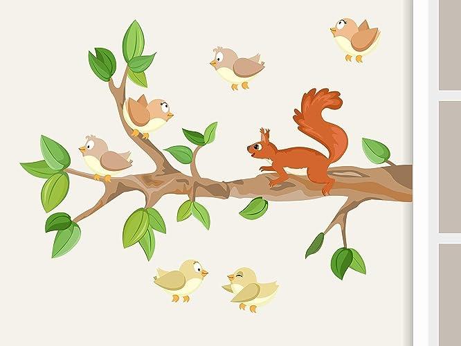 Wandtattoou0026quot;Ast I. Mit Baby Vögeln Und Eichhörnchenu0026quot; Waldtiere  Wandaufkleber Für Kinderzimmer