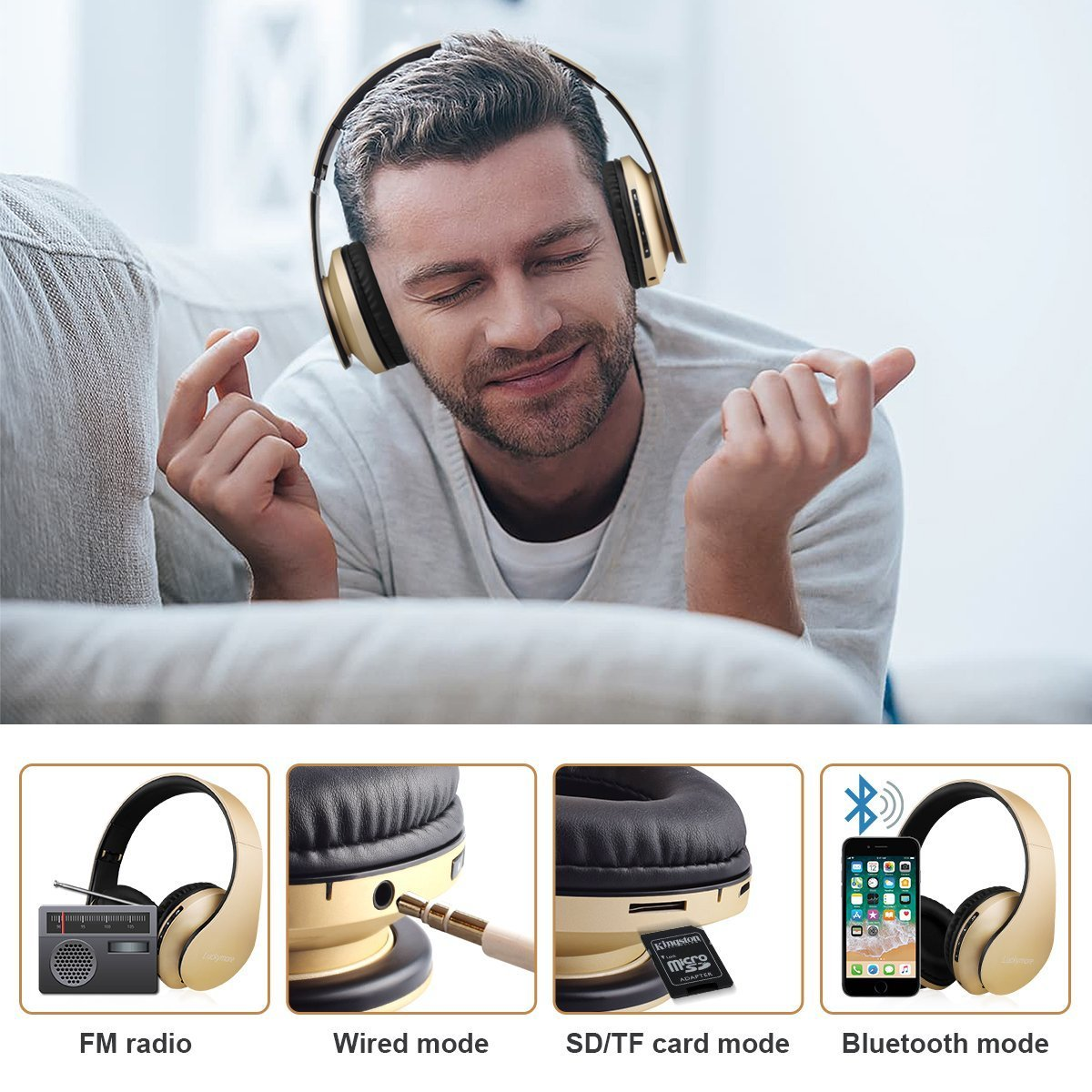 Bluetooth Auriculares Inalámbricos, Plegable Auriculares de Diadema Over Ear con Micrófono Libres Manos (Golden): Amazon.es: Electrónica