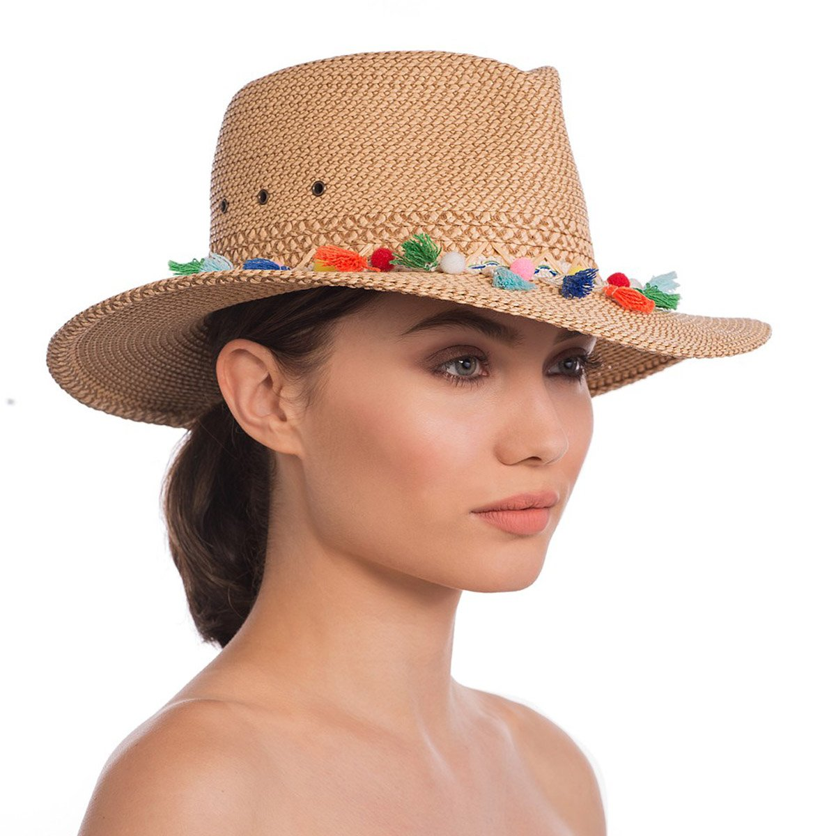 Eric Javits Luxury Fashion Designer Women's Headwear Hat - Bahia - Peanut Mix