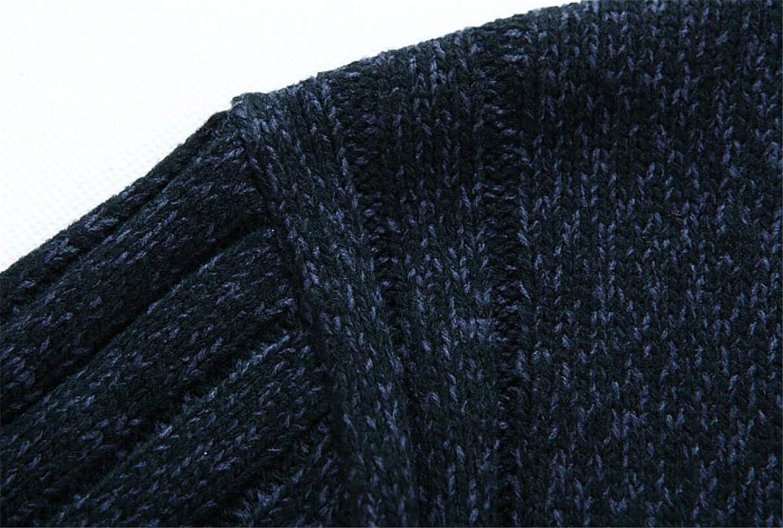 Hilization Men Classic Thicken Stand Collar Knitwear Zip-Up Sweater Cardigan