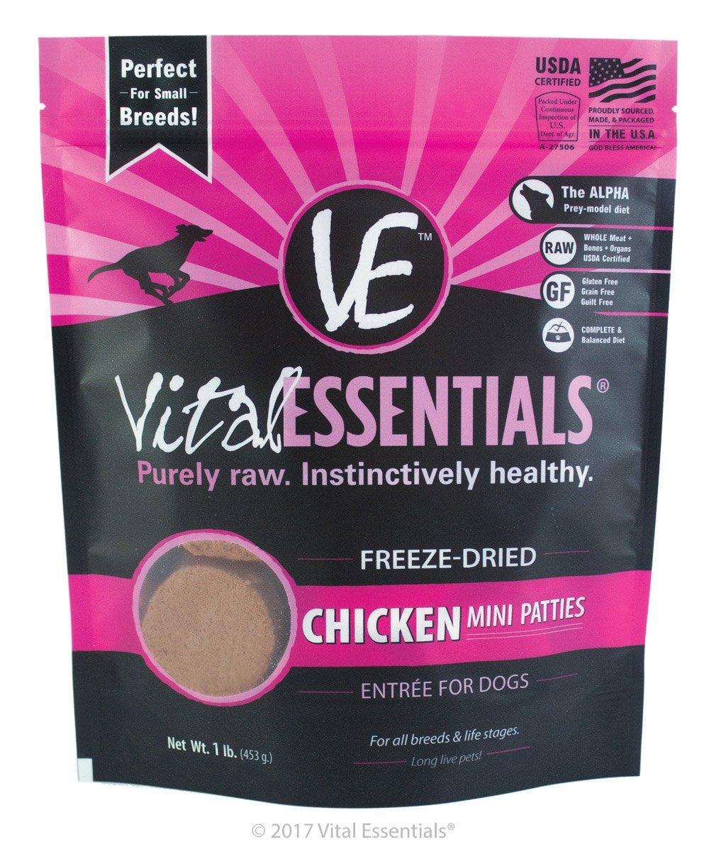 Vital Essentials 3897 FreezeDried Chicken Mini Patties Grain Free Limited Ingredient Dog, 1lb