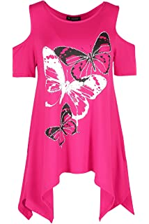 Women Hanky Hem Top Rose Ladies Butterflies Waterfall Swing Long Dress Plus Size