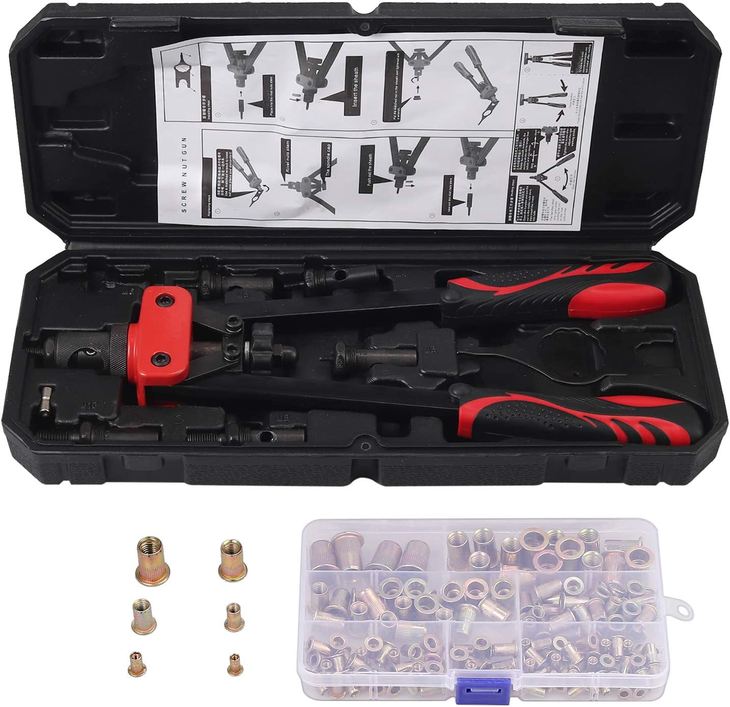 AUTOUTLET 14 Heavy duty Hand Rivet Nut//thread Setter Kit with 6pcs Metric Mandrels 150Pcs Rivet Nut red