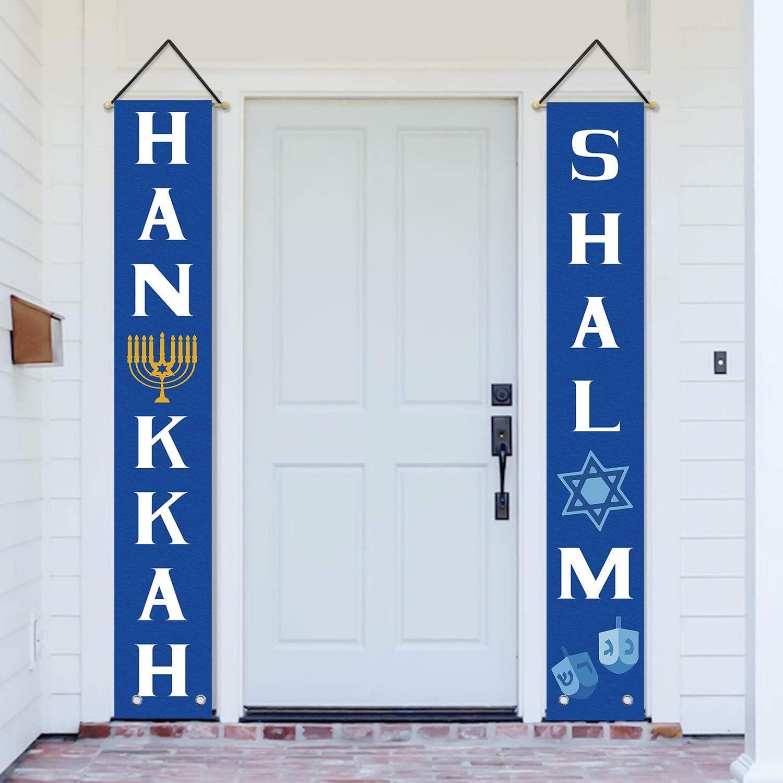 AVOIN Hanukkah Shalom Porch Sign, Star of David Menorah Dreidel Hanging Banner Flag for Yard Indoor Outdoor Party 12 x 72 Inch
