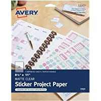 Printable Sticker Paper, Matte Clear, 8.5 x 11 Inches, Inkjet Printers, 3 Sheets - 1