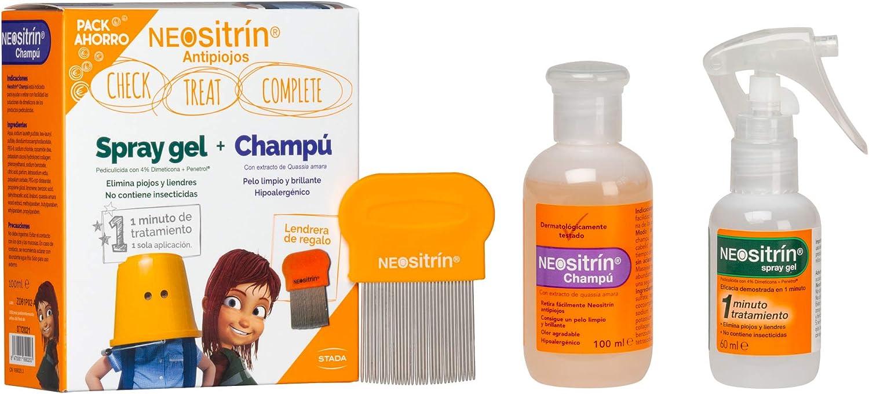 Neositrin Pack Champu (100ml) + Spray gel(60ml) para eliminar piojos y liendres en 1 minuto