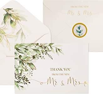 100 Wedding Thank You Cards with Envelopes & Stickers | Bulk Mr and Mrs Thank You Notes Blank on the Inside | Greenery & Gold Foil Thank Yous From the New Mr & Mrs.