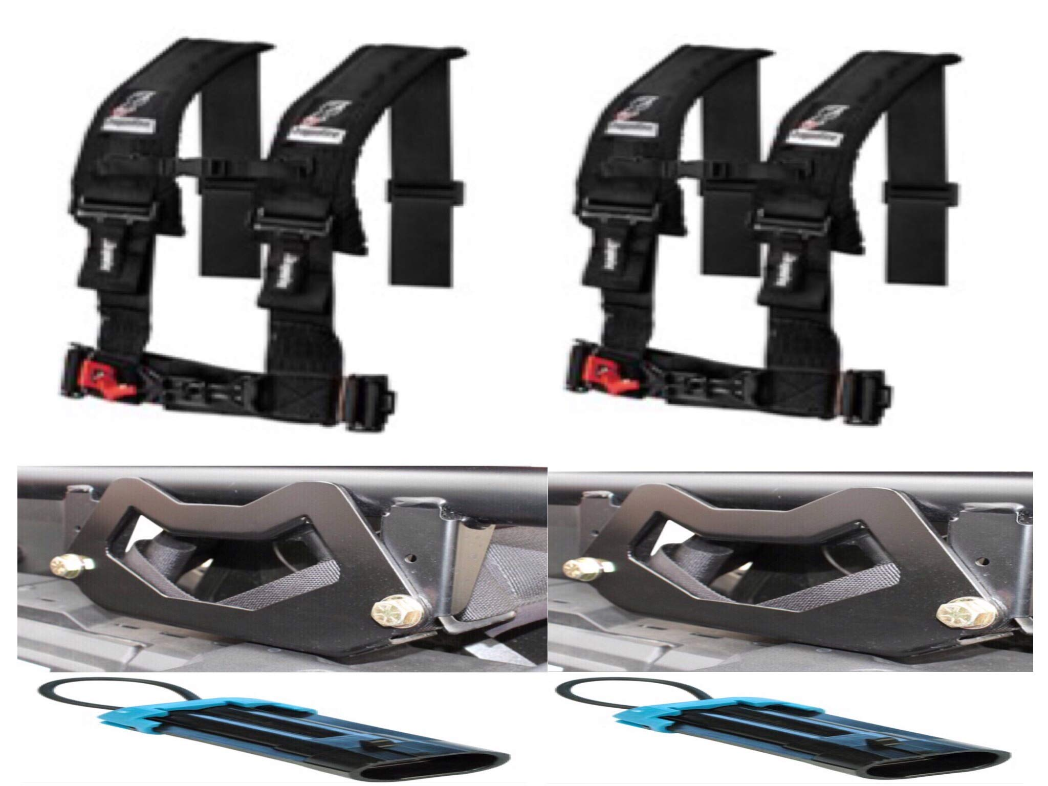 Polaris XP 1000 & 2015+ RZR 900 Set of 2 Dragonfire Racing 4-Point 3'' H-Style Harness With Sternum Clip (3'') (Black) W UTV Harness Mounting Brackets & Harness Overide Clips