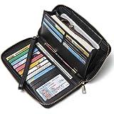CLUCI Women Wallet Large Leather Designer Zip Around Card Holder Organizer Ladies Travel Clutch Wristlet