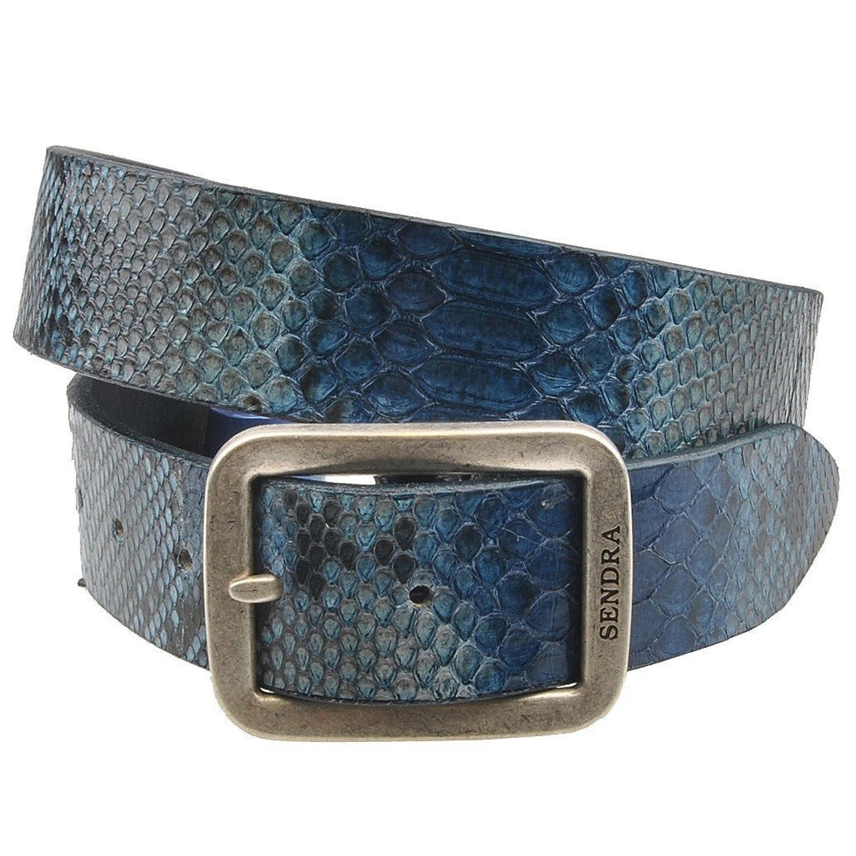 Sendra Gürtel Schlangenleder Python Blau