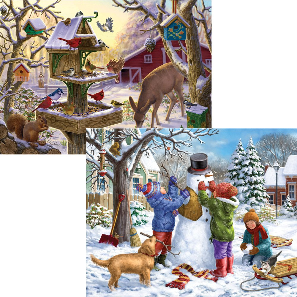 Bits and Pieces - Set of Two (2) 300 Piece Jigsaw Puzzles for Adults - Building Snowman, Sunrise Feasting - 300 pc Winter Snow Jigsaws by Artist Liz Goodrick-Dillon