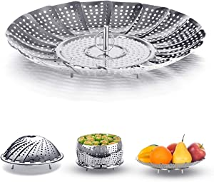 Acmer 9'' Vegetable Stainless Steel Steamer Basket, Pressure Cooker or Steamer Use Egg Rack Basket
