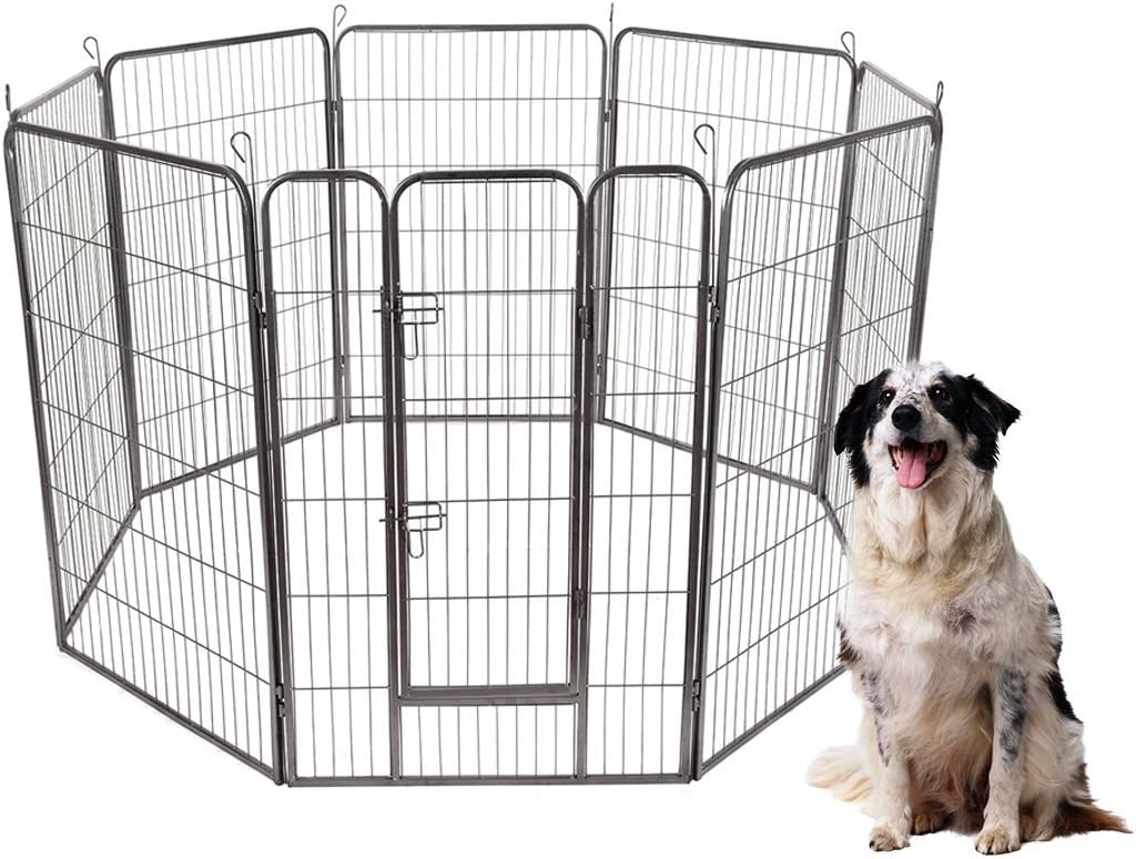 S AFSTAR Safstar Pet Playpen, Foldable Metal Exercise Pen for Dogs Rabbits Cats, Indoor and Outdoor, 8 Panels with Door, 48 40 Dog Fence, Playing and Resting