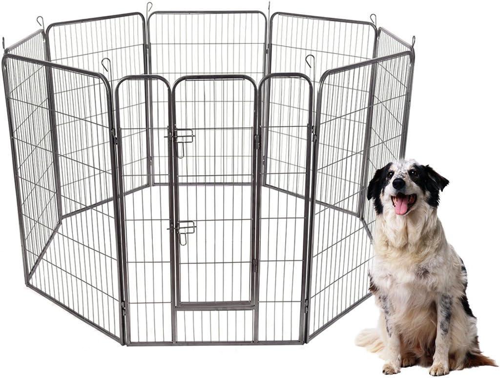 S AFSTAR Safstar 48 40 32 24 High 8 Panels Pet Playpen Dog Pets Fence Exercise Pen Gate with Door