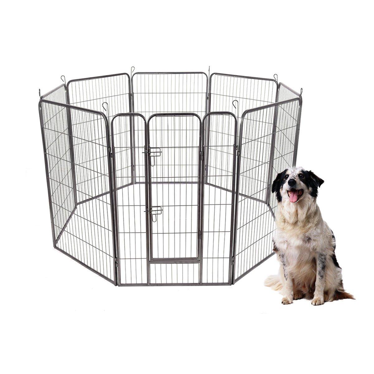 S AFSTAR Safstar 48''/40''/32''/24'' High 8 Panels Pet Playpen Dog Pets Fence Exercise Pen Gate with Door (24 Inch)