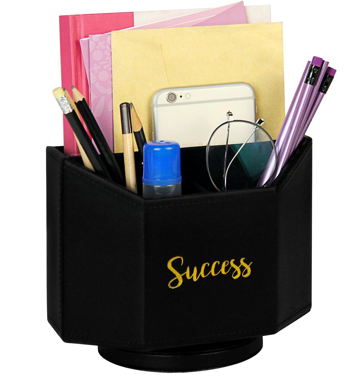 La Sra. Spinning Caja de piel sintética Spinning Sra. organizador de escritorio, soporte para bolígrafo 123a95