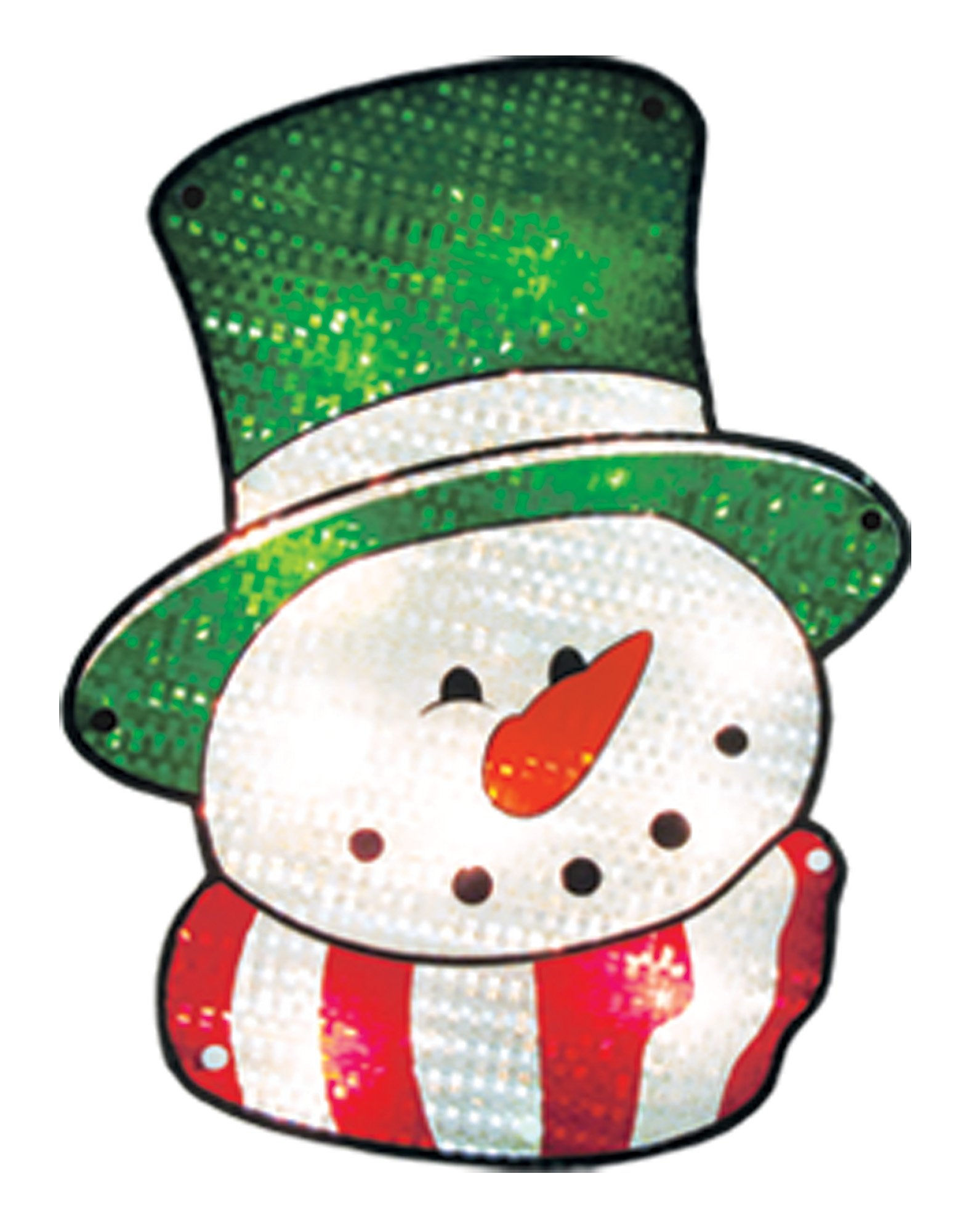 Impact Innovations Christmas Shimmer Lighted Window Decoration, Snowman Face