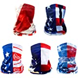 5pcs American Flag Face Mask Multipurpose Neck Gaiter Motorcycle Mask UV Protection Headwear for Men and Women