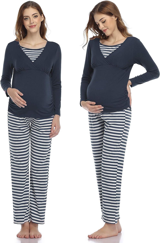 Aranmei Pijama Premama y Lactancia Otoño Invierno, Pijama para Embarazadas Manga Larga a Rayas, Algodón Pijama de Maternidad para Mujer Ropa de Dormir