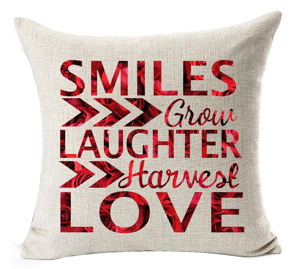 Color Wood Grain Red Rose Shadow Funny Sweet Inspirational Sayings Smiles Grow Laughter Harvest Love Cotton Linen Throw Pillow Case Cushion Cover NEW Home Decorative Square 20 X 20 Inches