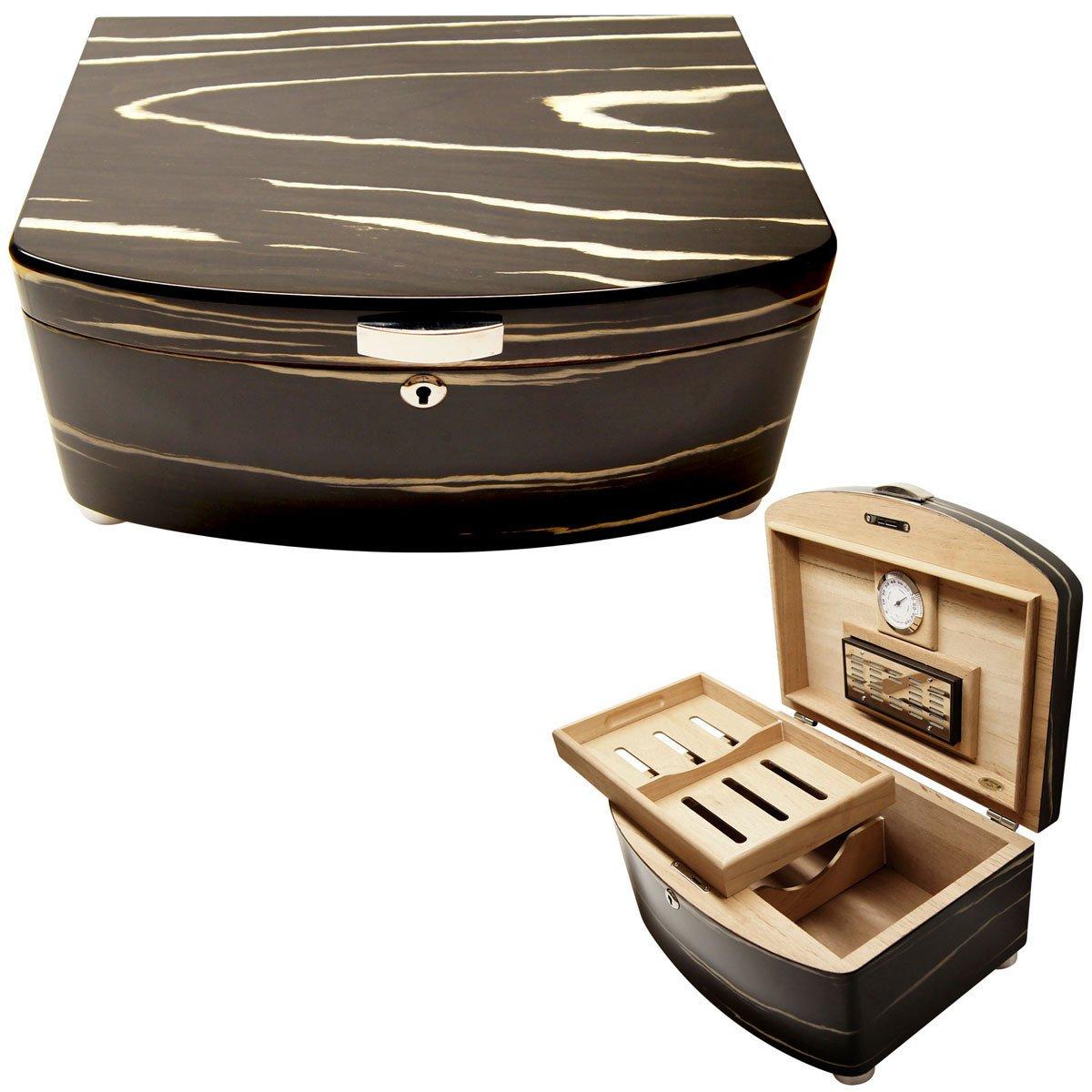 New Cuban Crafters Exclusivo Black 100 Count Spanish Cedar Lined Cigar Humidor