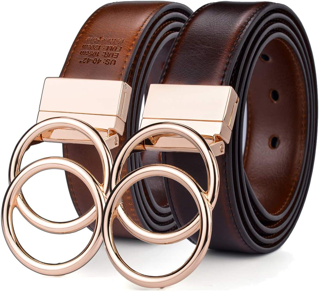 "Beltox Women Belt Leather 1.3"" Reversible 2 in 1 Rotated 2 Rings Gold Buckle"