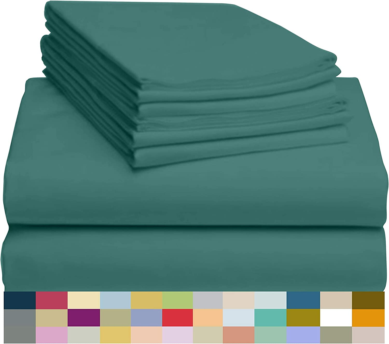 "LuxClub 6 PC Sheet Set Bamboo Sheets Deep Pockets 18"" Eco Friendly Wrinkle Free Sheets Hypoallergenic Anti-Bacteria Machine Washable Hotel Bedding Silky Soft - Teal Queen"