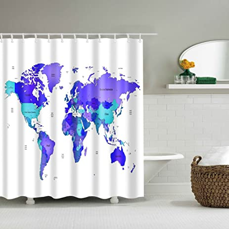 Amazon yeahii world map fabric shower curtain global countries yeahii world map fabric shower curtain global countries ocean globe continents decor gumiabroncs Gallery