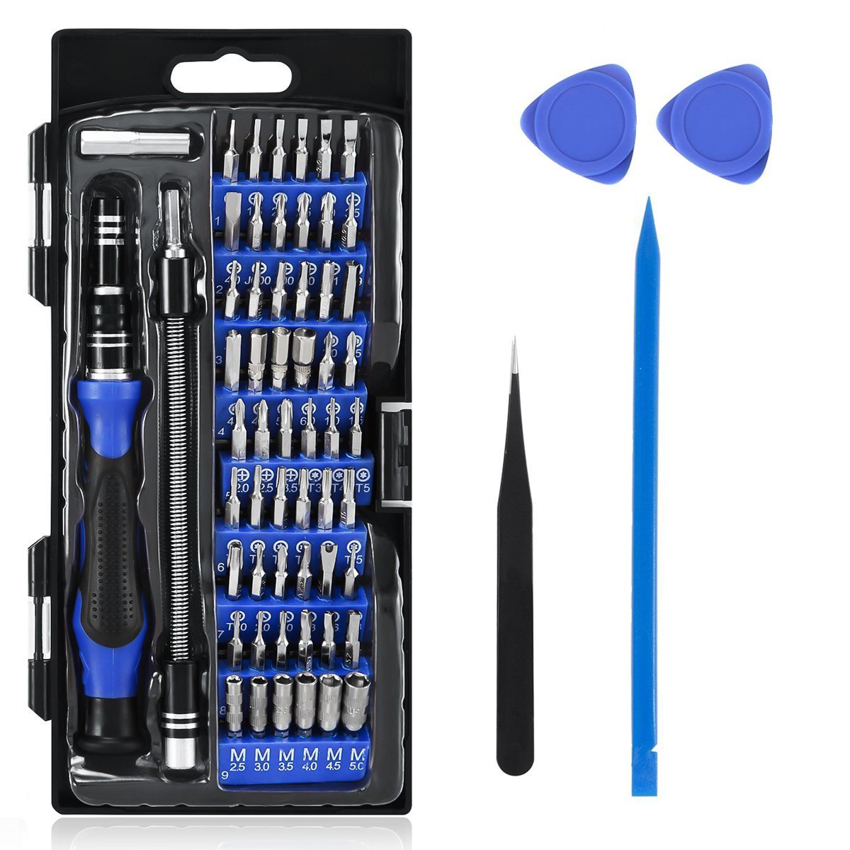 TraderPlus 64 in 1 Professional Screwdriver Set with 56 Magnetic Specialty Bit Set, Repair Tool Kit, Flexible Shaft, for iPhone, Xbox, PlayStation, Tablet, PC, Electronics (Blue)