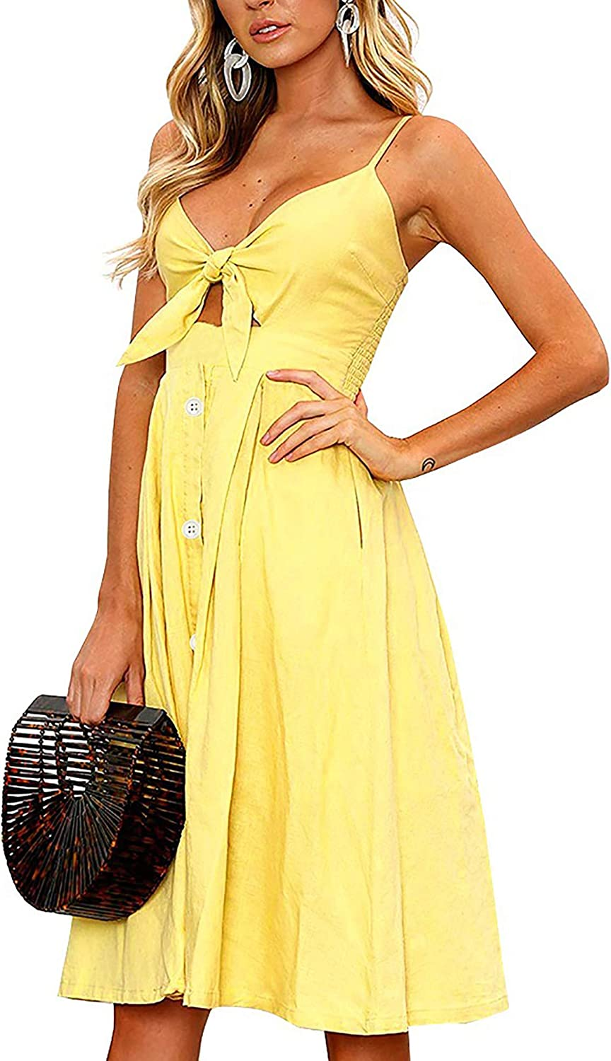 ECOWISH Women Dresses Summer Tie Front V-Neck Spaghetti Strap Button Down A-Line Backless Swing Midi Dress