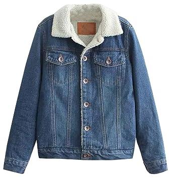 Fensajomon Womens Faux Fur Lined Denim Jacket Winter Coat Outwear
