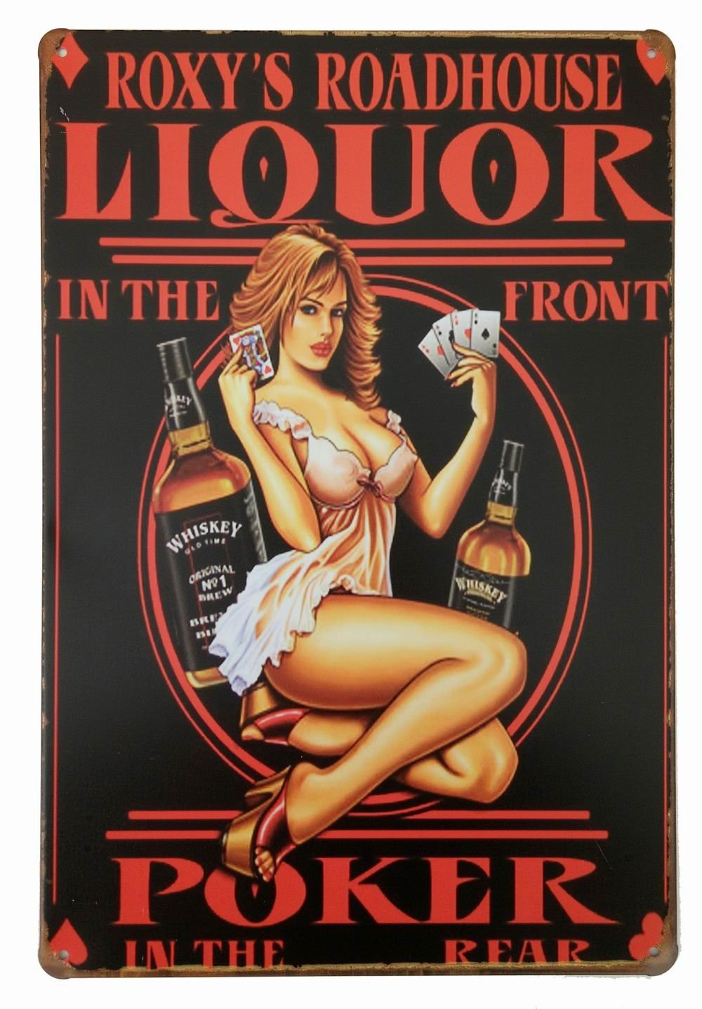 ERLOOD Whiskey Liquor in The Front Poker Pin up Girl Retro Vintage Decor Tin Sign 12 X8 Inches