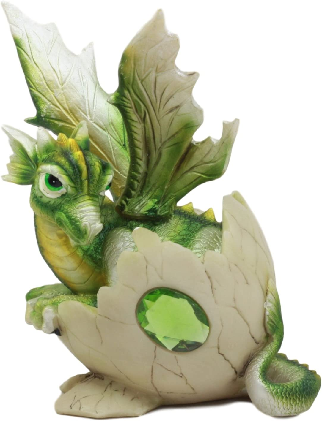 """Green Baby Dragon Hatching From Egg Figurine Hatchling 4/"""" Detailed Resin New!"""