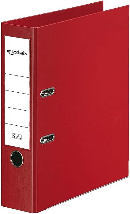 Oferta amazon: AmazonBasics - Archivador de palanca, cubierta de PP, lomo con bolsillo, Certificación FSC, A4, lomo de 80 mm de ancho, rojo
