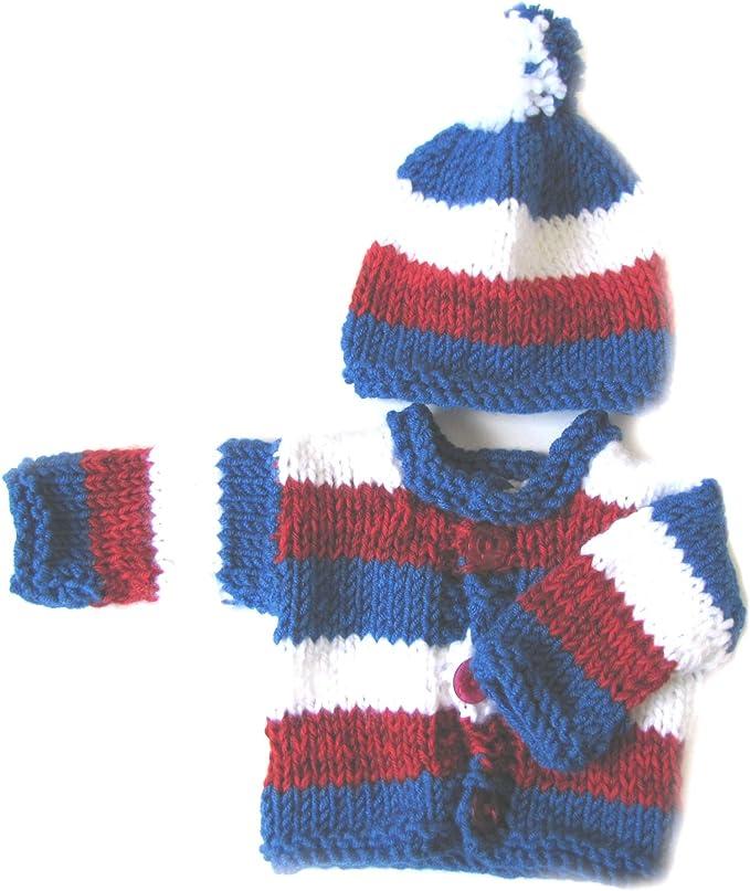 KSS New Handmade Gender Neutral PurpleWhite SweaterCardigan with a Hat Newborn SW-607