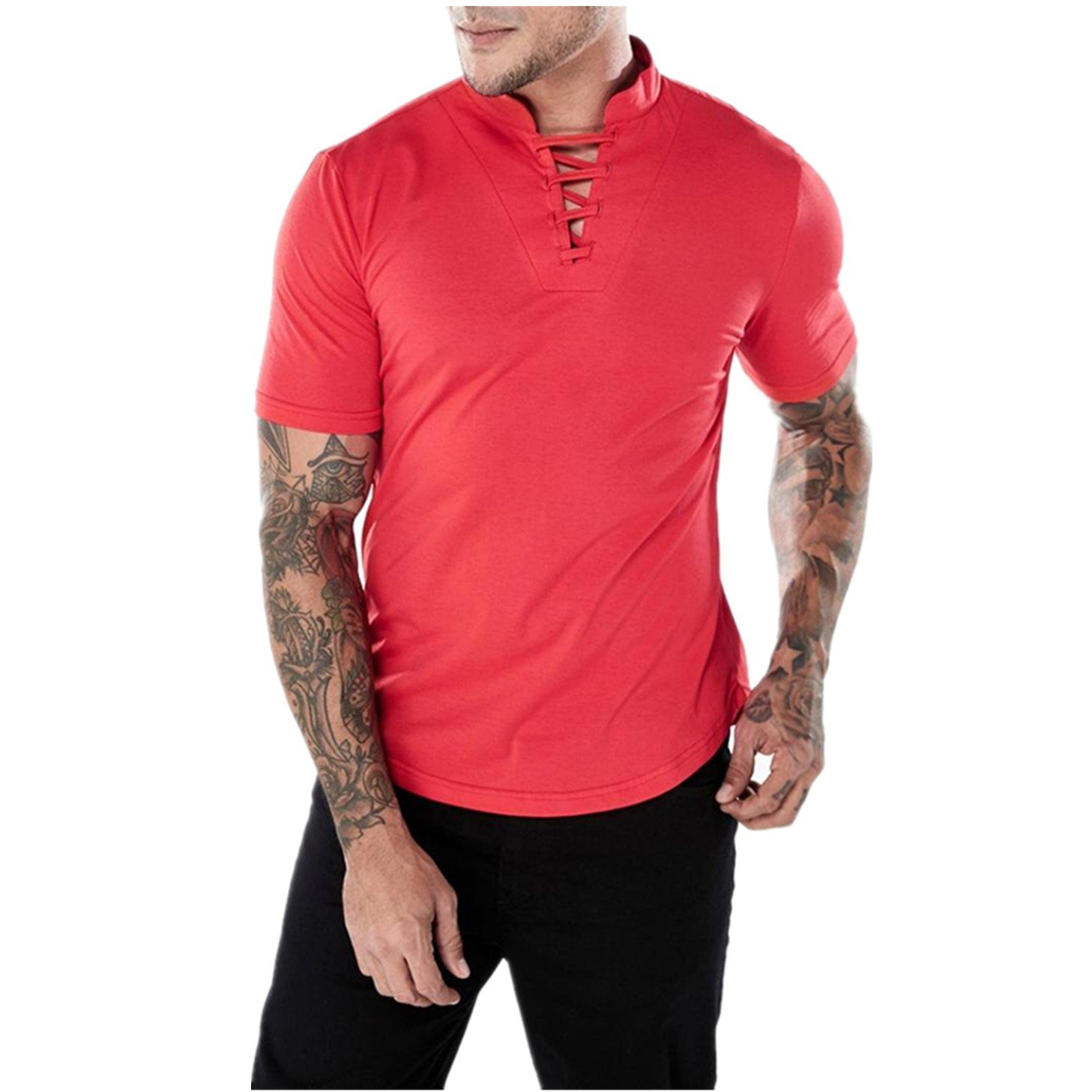 190ff5cd3ea332 Amazon.com  BSGSH Mens Short Sleeve Shirts Lace up V Neck Solid Slim T-Shirt  Tee Muscle Tops for Men  Clothing
