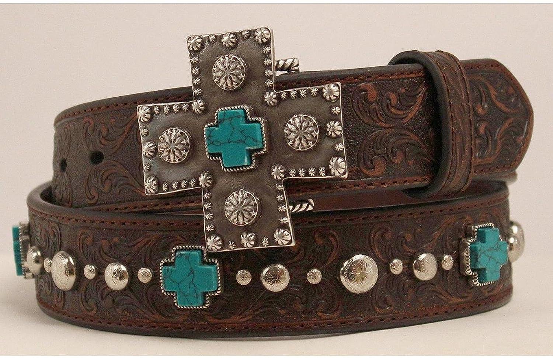 Nocona Belt Co Womens Distressed Scroll Triquoise Cross Buckle Belt