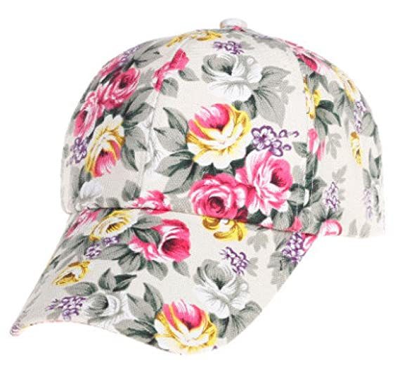 75871cd2102 Amazon.com  Challyhope Womens Girls Floral Print Baseball Cap Trucker Hat  Golf Sun Cap Snapback Hat Hip-Hop Adjustable (Beige)  Clothing