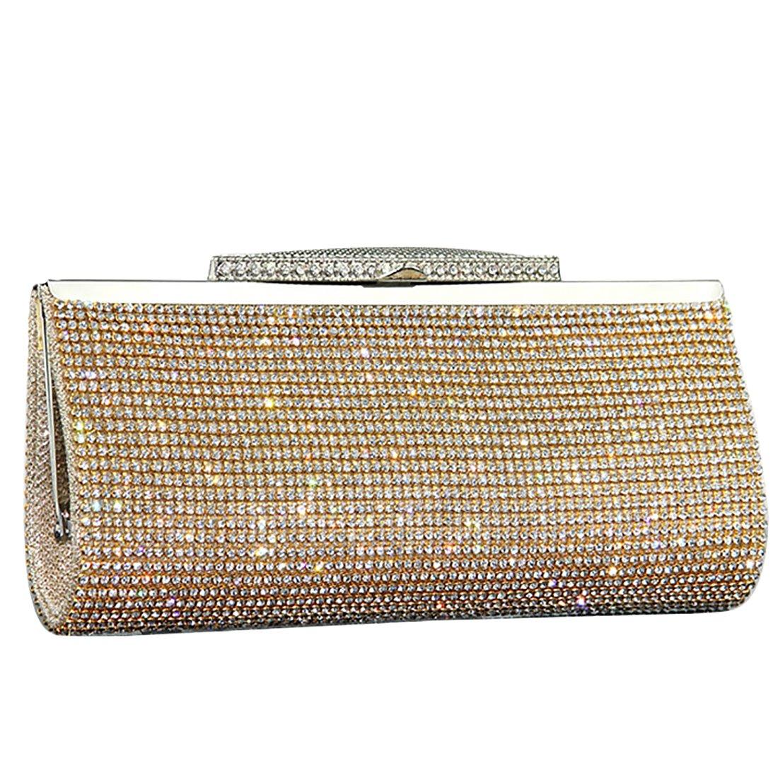 IBELLA Womens Glitter Sequin Clutch Bag Crystal Diamante Sparkly Silver Gold Black Evening Bridal Prom Party Handbag Purse (Gold)