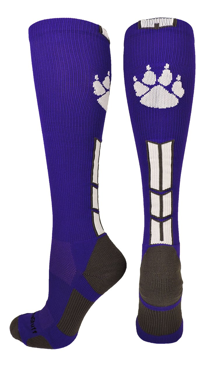 MadSportsStuff Wild Paw Over The Calf Socks (Purple/White/Graphite, Small) by MadSportsStuff